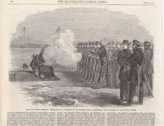 1862 Antique Engraving - Civil War - Execution Of A Deserter In Federal Camp