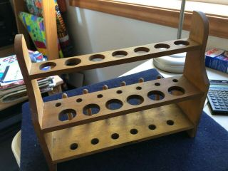 Vintage Braun Wooden Test Tube Rack 2