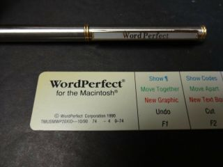 Rare Wordperfect Ball Point Pen And Mac Keyboard Command Strip Word Perfect Over
