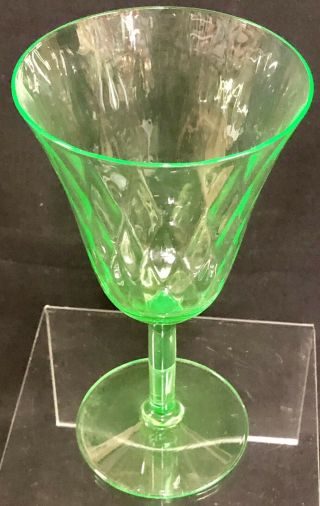 "Antique 6 "" Vaseline Uranium Green Depression Glass Stemmed Water Goblet Vintage"