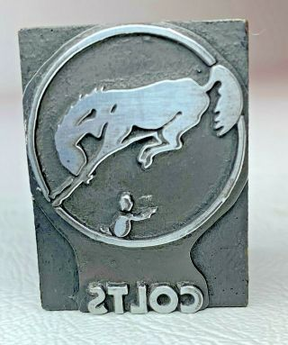 Antique Colts Logo Letterpress Wood Print Block