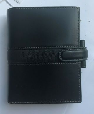 Filofax Mini Size Piazza Leather Black Vintage Planner Rare With Top Wallet