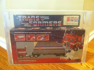 Transformers G1 Afa Graded Optimus Prime Misb W/ Pepsi Sticker
