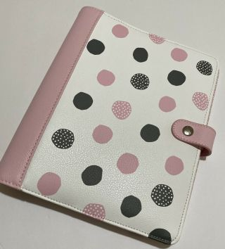Kikki K A5 Large Leather Planner - Pink And Black Polka Dot Rare/binder Only