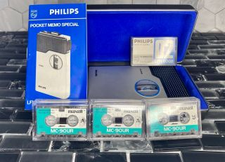 Philips Pocket Memo 0095 Mini Cassette Recorder Dictaphone Vintage Rare