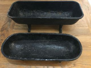 "Rare Antique Small Cast Iron Feed Troughs 16"" & 14"" Salesman Samples ? Unusual"