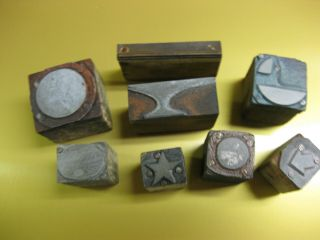 Antique Letterpress Printing Block Lead Cuts On Wood Shapes (8) Different