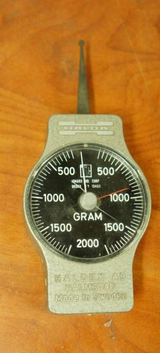 Rare Halda Haldex Ab Halmstad 100 - 2000 Gram Force Tension Gauge T24