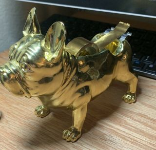 Nate Berkus French Bulldog Tape Dispenser Desktop Gold Complete Rare Retired