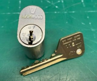 Lockwood V7 Oval Lock Cylinder W/ Key - Locksmith Locksport - Rare Collector