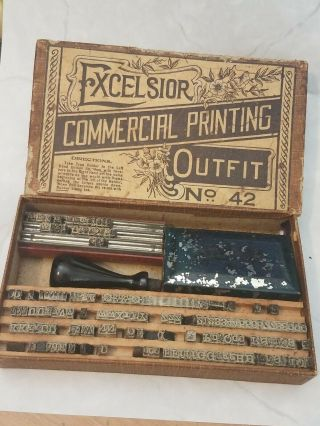 Antique Excelsior Printing Set Outfit No.  42