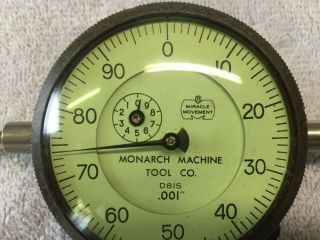 """Vintage Monarch Machine Tool Dial Indicator D81s.  001 """",  Miracle Movement,  Rare"""