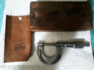 Antique Vintage G.  L.  Great Lakes Micrometer No.  85 Wood Box & Instructions