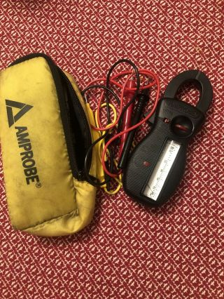 Vintage Amprobe Rs - 3 Analog Clamp Meter W/case & Leads Amps/ohms/volts Tester