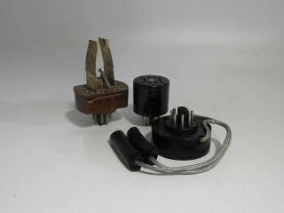Set Of 3 Rare & Hard To Find Tv - 7 Tube Tester Specialized Test Socket Adapters