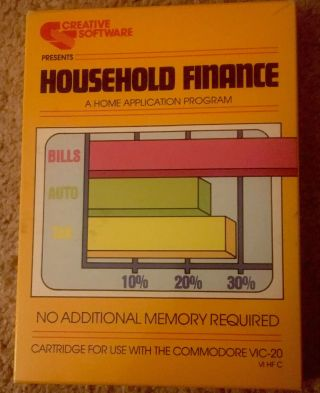 Creative Software - Household Finance - Vic20 - Cib - - Rare And In