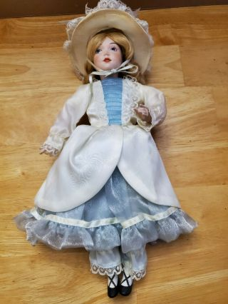 12 Inch Porcelain Doll White And Blue Dress
