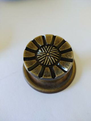 Nos Vintage Single Drawer Pull Knob Style Metal Bronze Color - Stylized Flower