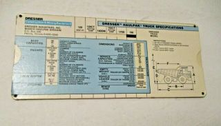 Vintage Dresser Construction & Mining Equipment Truck Specifications Slide Chart