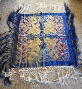 Vtg Antique Reversible Asian Chinese Tapestry Shaw Scarf Woven Coverlet Fringe