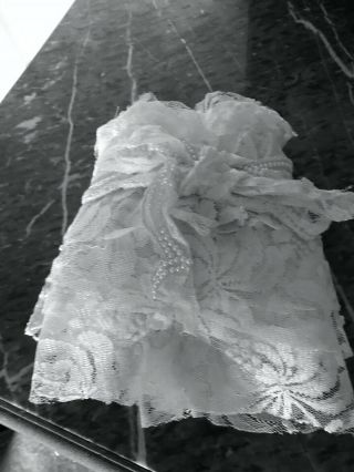 """Vintage Scrap Lace W/pearls From Wedding Gown 9⅓ Yds,  Long X 5 """",  / - Wide"""