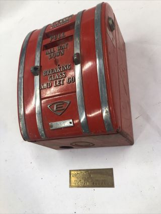 Edwards Fire Alarm Pull Station Vintage Rare With Motor And Back Box Old