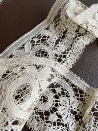 """36"""" Antique French Sweet Simple Net Lace Trim,  Edging,  Doll Salvage"""