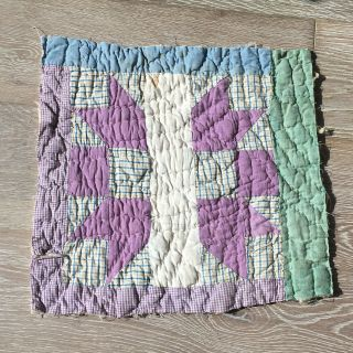 Antique Cutter Patchwork Quilt Piece - Great For Crafts Or Pillows Vintage 3