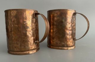 Antique Primitive Hand Made Hammered Copper Mugs Cups