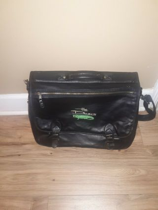 The Dunes Golf And Beach Club Laptop Computer Bag Black Leather Rare Plaid