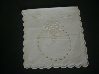 Ivory Linen Handkerchief Case,  Hand Embroidered For A Trousseau,  1900 - 1910