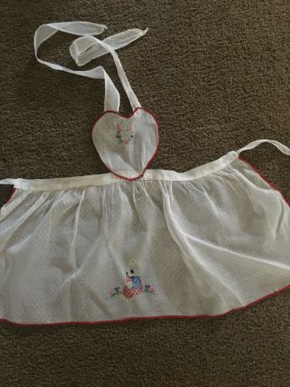 Antique Child Apron With Embroidery Fabric Dotted Swiss