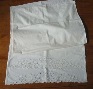Pair Vintage White Pillowcases - Hand Done Cutwork And Embroidery
