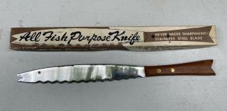 """Vintage 12"""" All Fish Purpose Fishing Knife Stainless Steel Blade Antique Figural"""