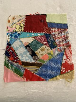 Vintage Crazy Quilt Square With Buttons Chicken Scratch Stitches