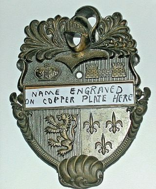 Elegant Bronze Door Knocker Knights Armor & Coat Of Arms With Name Plate Space
