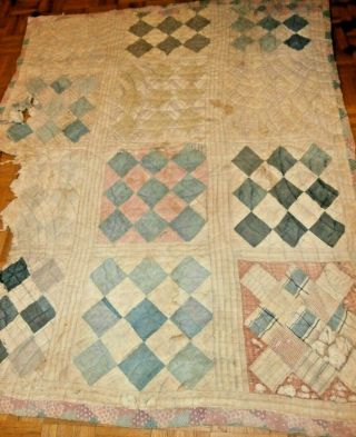 """Antique Primitive Checkerboard Pattern Cutter Quilt 58 """" X 67 """" For Crafts"""