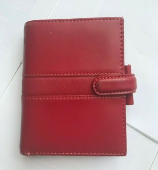 Filofax Mini Size Piazza Leather Red Vintage Planner Rare With Top Wallet