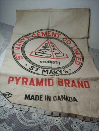 St.  Marys Cement Company Limited Pyramid Brand Concrete Canada Cloth Bag Antique