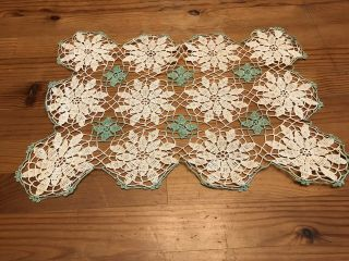 Antique Vintage Lace Handmade Doily Green White Rectangle