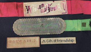 4 Antique Punched Paper Embroidery Bookmark
