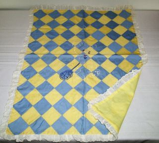 Vintage Doll Bed Quilt With Embroidery