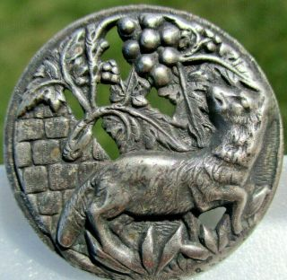 """Vintage Antique """" Fox & The Grapes """" French Silver Plated Copper Pierced Button"""