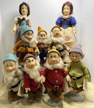 "R.  John Wright Both Snow White 16 "" & Seven Dwarfs 10 "" Dolls Rare Set Disney"