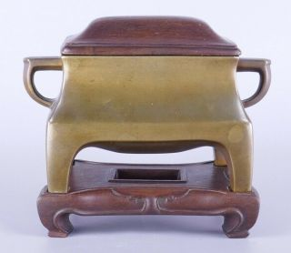 Rare Old Chinese Bronze Censer Incense Burner W/ Mark Stand & Cover