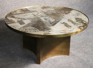 """Rare Signed Modernist Base """" Chan """" Bronze Laverne Coffee Cocktail Table C1960"""