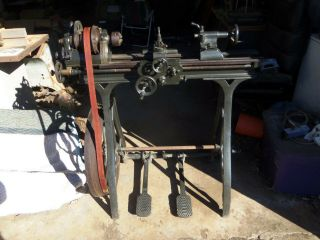 "9 "" 1885 Seneca Falls Star Treadle Lathe Early Rare Piece Vintage"