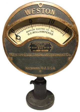 Rare Vtg Weston Electrical Dc Milliamperes Gauge Model 24 Usa Steampunk Nautical