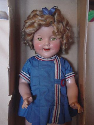 Ideal Vintage Composition 22 Inch Shirley Temple Doll In Rare Patriotic D