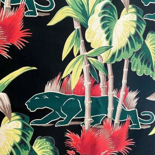 Rare Vintage Barkcloth Fabric - Black Tropical With Green Panthers & Palm Trees